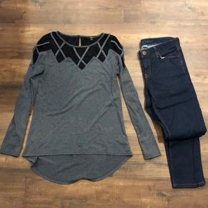 Very J black and grey top